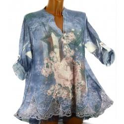 Tunique pull été dentelle voile bohème bleu PANDORA