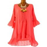robe tunique asymétrique bohème dentelle été  corail CHOUPETTE