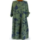 Robe bohème coton grande taille kaki PATCHWORK
