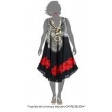 Robe été asymétrique bohème grande taille noire AUDELIA