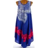 Robe été asymétrique bohème grande taille bleu AUDELIA
