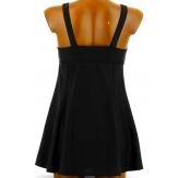 Maillot de bain 1 pièce robe jupette femme noir MADDO