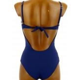 Maillot de bain 1 pièce trikini dentelle push up bleu PRISSOU