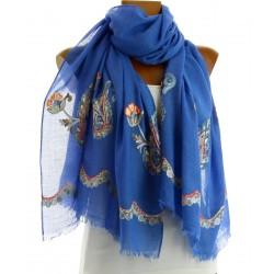 Foulard écharpe rebrodé bohème bleu ROXANNE
