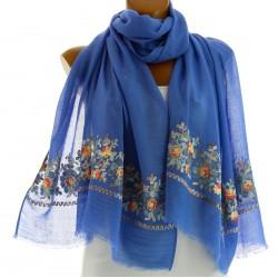 Foulard écharpe rebrodé bohème bleu SABINA
