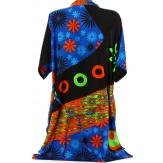 Robe tunique ethnique bohème été noir CLARA grande taille