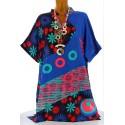 tunique longue ethnique bohème été bleu royal CLARA grande taille