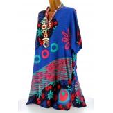 Robe tunique ethnique bohème été bleu royal CLARA grande taille