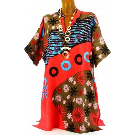 Robe tunique ethnique bohème été corail CLARA grande taille