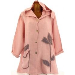 Veste femme capuche bohème lin grande taille rose LOUISON
