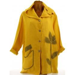 Veste femme capuche bohème lin grande taille moutarde LOUISON