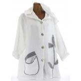Veste femme capuche bohème lin grande taille blanc LOUISON