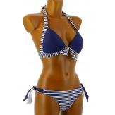 Maillot de bain 2 pièces bikini push up bleu blanc DIANE