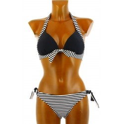 Maillot de bain 2 pièces bikini push up noir blanc DIANE