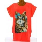 Tee shirt tunique chats grande taille corail MINOUCHE