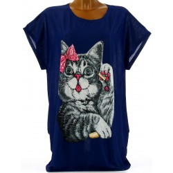 Tee shirt tunique chats grande taille bleu marine MINOUCHE