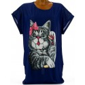 Tee shirt chats grande taille bleu marine MINOUCHE