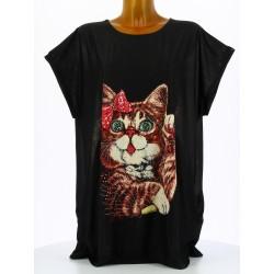 Tee shirt tunique chats grande taille noir MINOUCHE