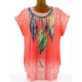 Tee shirt tunique plumes grande taille corail CHEYENNE