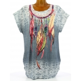 Tee shirt tunique plumes grande taille gris CHEYENNE