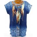 Tee shirt  plumes grande taille bleu CHEYENNE