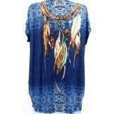 Tee shirt tunique plumes grande taille bleu CHEYENNE