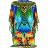 Poncho tunique paréo mousseline boho bijoux vert  JIMMY