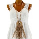 sautoir collier long bijoux bohème hippie boho beige LUNE