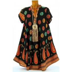 Robe été asymétrique bohème grande taille noire CACHEMIRA