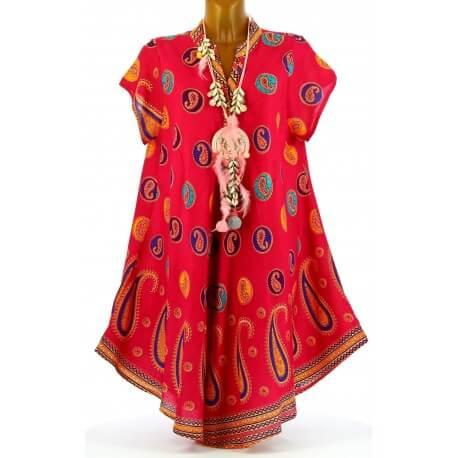 Robe été asymétrique bohème grande taille fushia CACHEMIRA