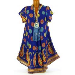 Robe été asymétrique grande taille bleu royal CACHEMIRA