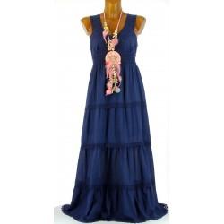 Robe longue été dentelle coton boho bleu ADRIANA