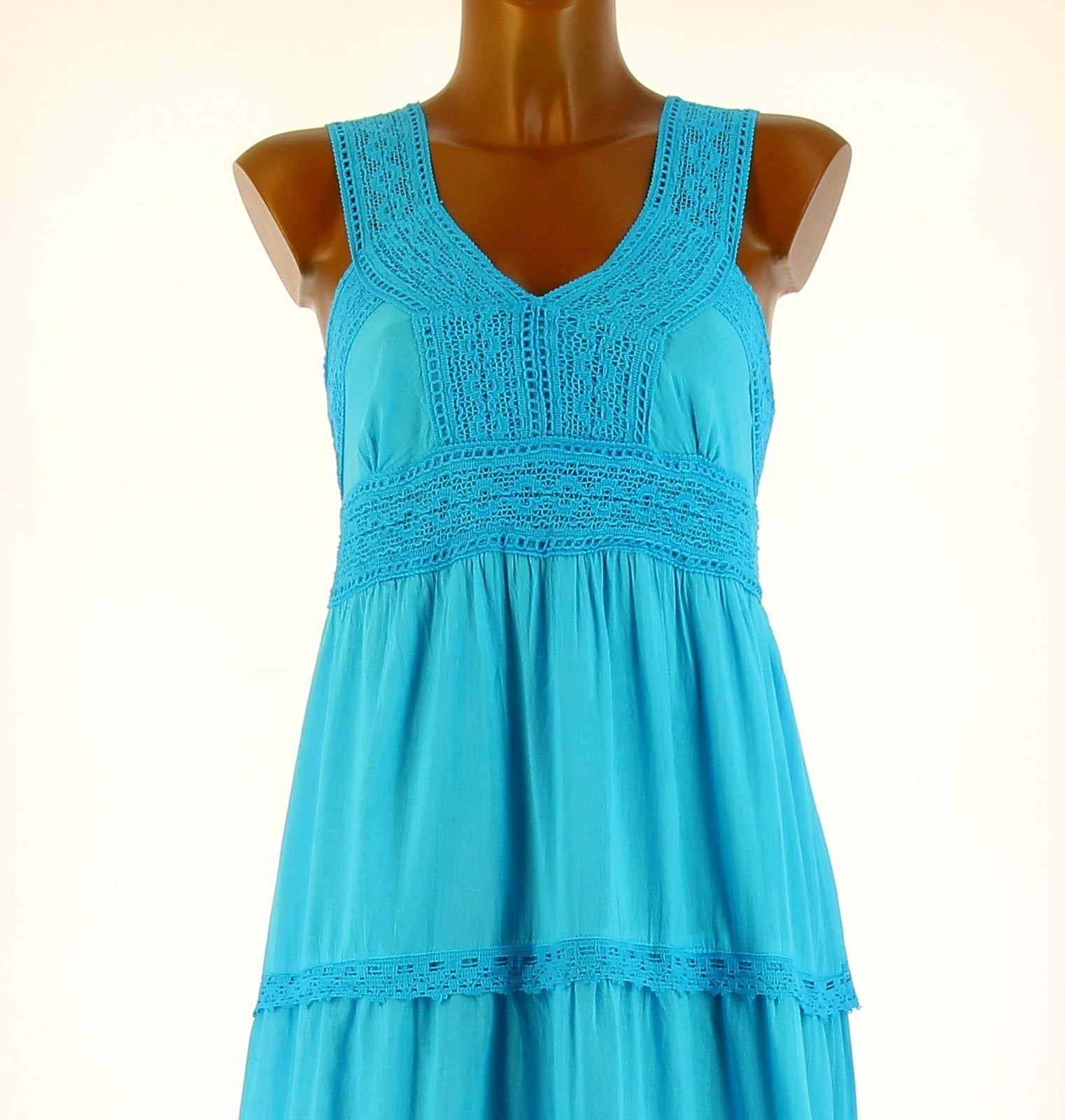 robe longue t dentelle coton boho turquoise adriana. Black Bedroom Furniture Sets. Home Design Ideas