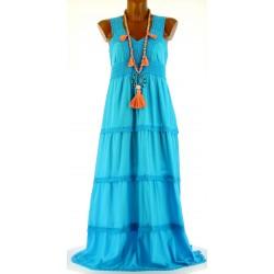 Robe longue été dentelle coton boho turquoise ADRIANA
