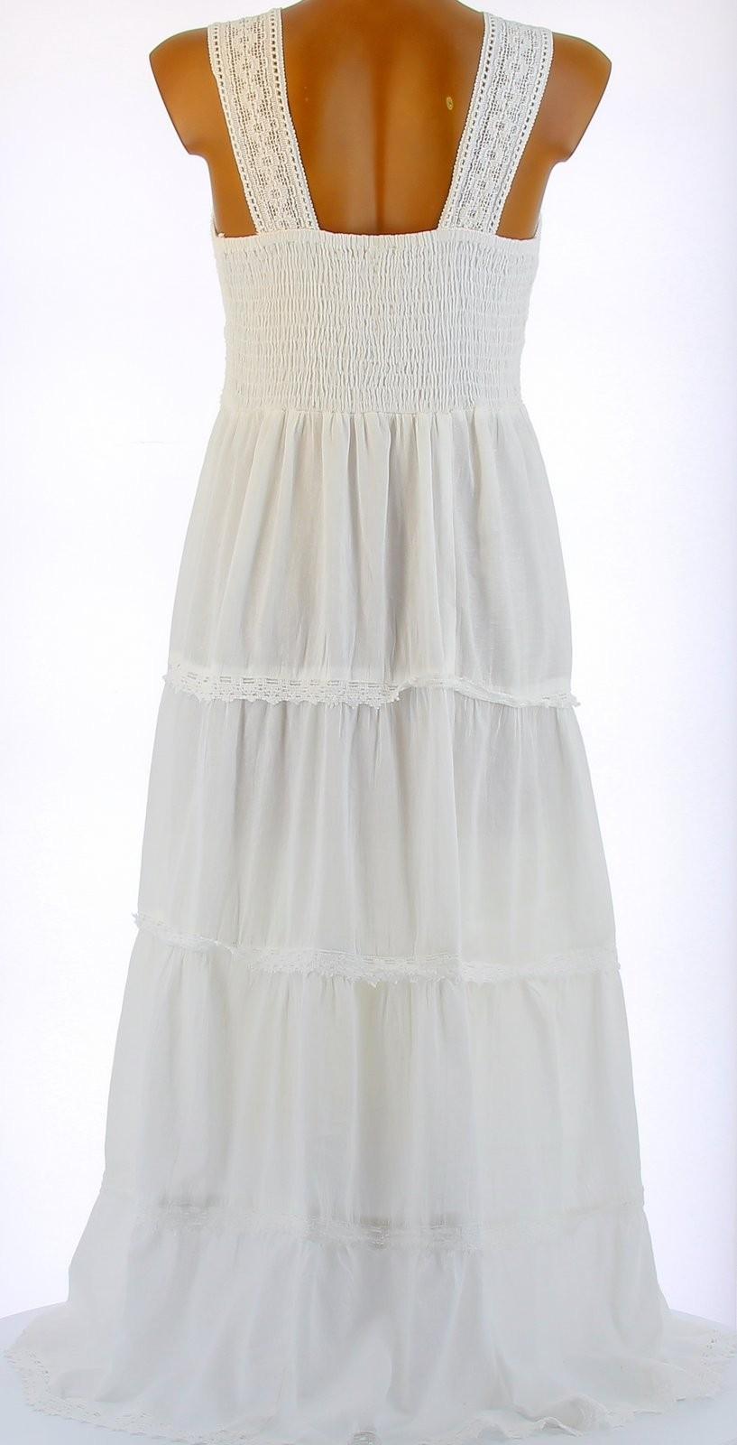 robe longue t dentelle coton boho blanche adriana. Black Bedroom Furniture Sets. Home Design Ideas