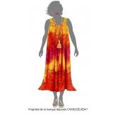 Robe été longue ample grande taille orange LOUNA