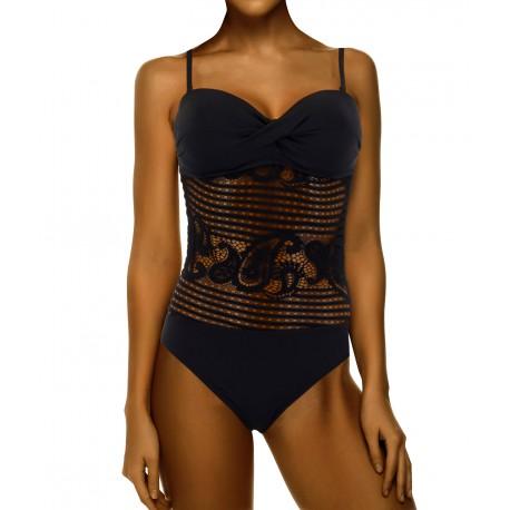 Maillot de bain 1 pièce trikini dentelle push up noir PRISSOU