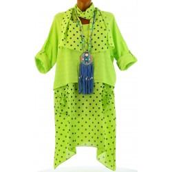 Robe tunique + foulard asymétrique coton bohème été anis PILOU