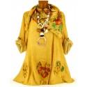 Tunique chemise bohème Coton grande taille moutarde  MARIETTE