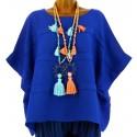 Tunique lin grande taille bohème bleu royal  LUCIE