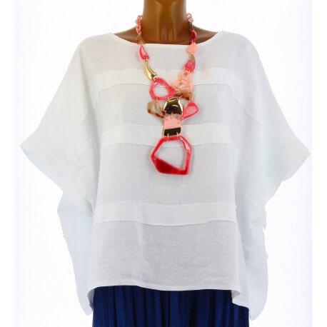 Tunique lin grande taille bohème blanc LUCIE