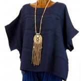 Tunique lin grande taille bohème bleu LUCIE