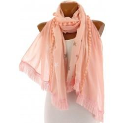 Foulard écharpe longue pompons boho rose VENUS