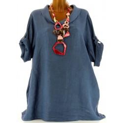 Tunique longue lin grande taille bohème bleu jean REGLISSE