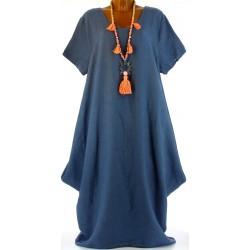Robe longue pur lin grande taille bohème création bleu DANIELLA