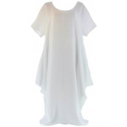 Robe longue pur lin grande taille bohème création blanc DANIELLA