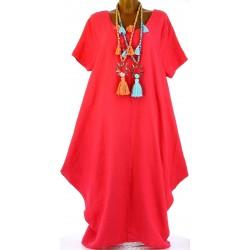 Robe longue pur lin grande taille bohème framboise DANIELLA