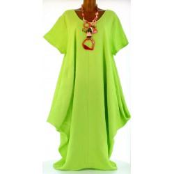 Robe longue pur lin grande taille bohème anis DANIELLA