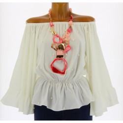Blouse tunique bohème kimono perles LOLITA