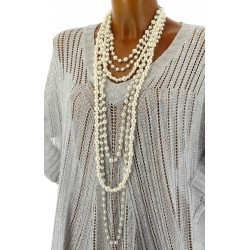 gros collier sautoir multi rangs perles couture beige TRINITY